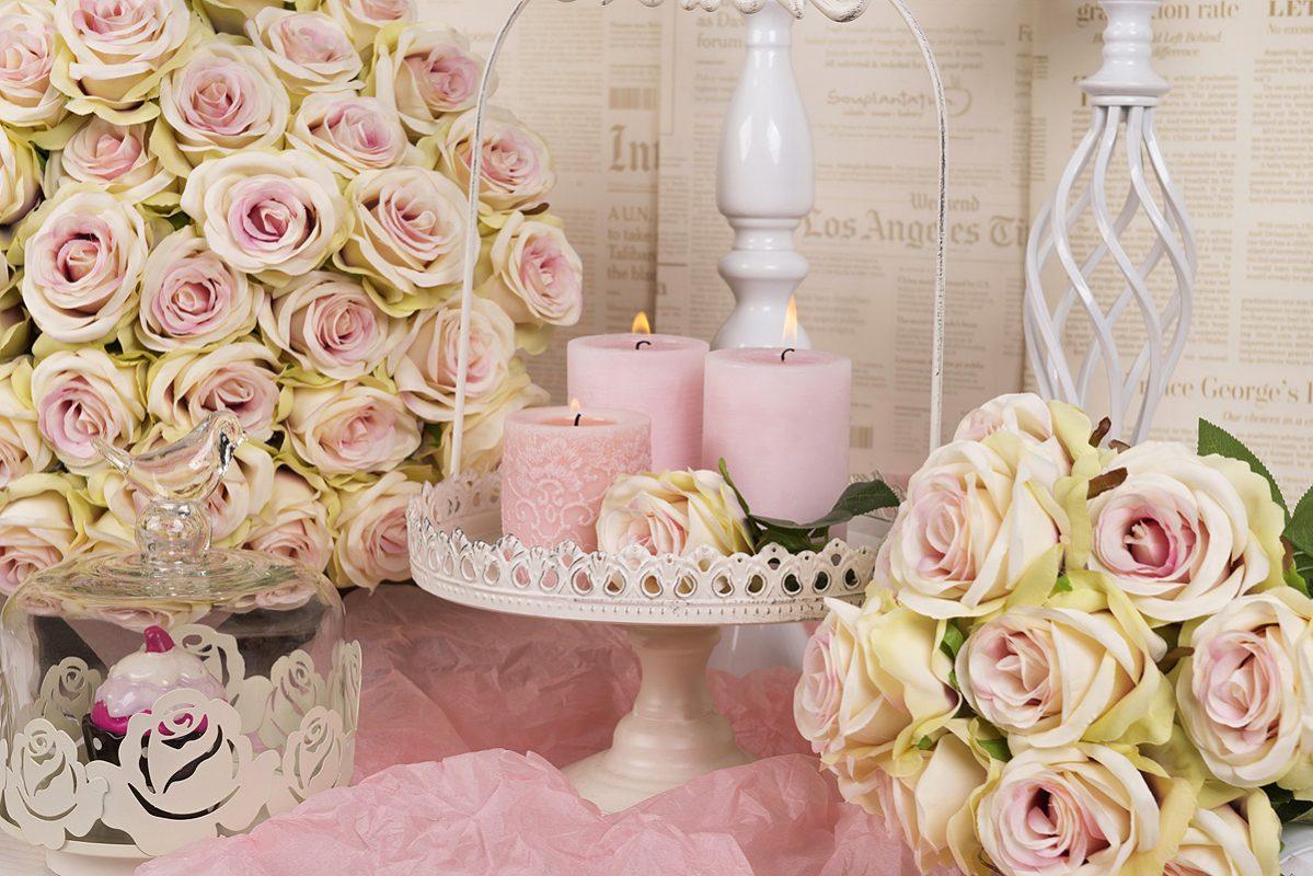 artykuły dekoracyjne, kwiaty sztuczne, świeczniki